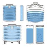 Tanques de água industriais ajustados Vetor Imagens de Stock Royalty Free