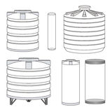 Tanques de água industriais ajustados Vetor ilustração royalty free