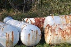 Tanques de propano rejeitados Fotos de Stock Royalty Free