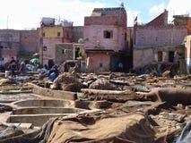 Tanques do curtume em C4marraquexe Marrocos Foto de Stock