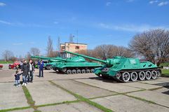 Tanques soviéticos em Savur complexo memorável Mohyla Fotos de Stock Royalty Free
