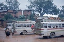 Tansing, Nepal. Busstation. Royalty-vrije Stock Foto's