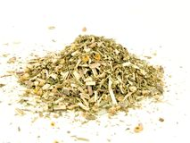 Tansy, dried herb. Tansy, Tanacetum vulgare, dried herb, isolated on white Stock Image