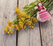 Tansy and folk doll on wooden table Stock Photography