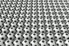 Tant de ballons de football, illustration 3d Photos stock