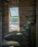 Tantallon城堡,半被破坏的14世纪中叶堡垒,在北部Berwick东部的5公里,位于东洛锡安,苏格兰 库存图片
