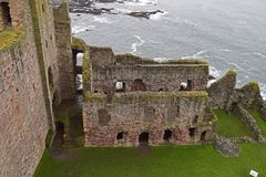 Tantallon castle a 14th century fortress in Scotland. Tantallon castle was built in the mid 14th century by William Douglas 1st Earl of Douglas . It was in use Royalty Free Stock Photos