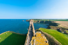Tantallon Castle. View from the defense stone walls at the 14th century medieval Tantallon Castle in East Lothian, Scotland, UK Stock Photos