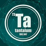 Tantalum chemical element. Sign with atomic number and atomic weight. Chemical element of periodic table. Molecule And Communication Background. Connected stock illustration