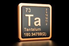 Tantalum Ta chemical element. 3D rendering. Tantalum Ta, chemical element. 3D rendering isolated on black background Royalty Free Stock Images