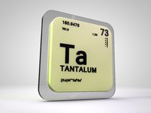 Tantalum- Ta - chemical element periodic table. 3d render Royalty Free Stock Photos
