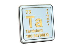 Tantalum Ta, chemical element sign. 3D rendering. Isolated on white background Stock Photo