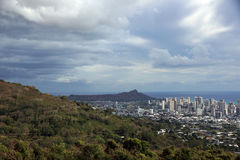 Tantalus, Diamondhead and the city of Honolulu on Oahu on a nice Stock Photos