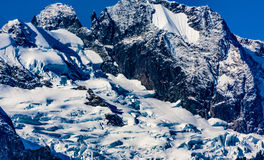 Tantalus Peaks Canada. Whistler, BC, Canada - Sept. 21, 2016:  The four major peaks of the Tantalus Range are named Alpha, Serratus, Dione and Tantalus 2603m Stock Photos
