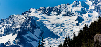 Tantalus Peaks Canada. Whistler, BC, Canada - Sept. 21, 2016:  The four major peaks of the Tantalus Range are named Alpha, Serratus, Dione and Tantalus 2603m Royalty Free Stock Photo