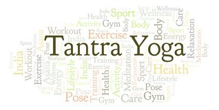 Tantra Yoga word cloud. stock illustration