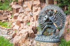 Tantric Deities statue in Ritual Embrace located in a mountain g. Tantric Deities Hevajra and Nairatmya in Ritual Embrace yab-yum Stock Photo
