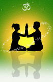 Tantric love. Illustraion of couple in meditation for Tantric love Royalty Free Stock Image