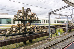 Tanuki sculpture at Kameoka Torokko Station in Kyoto , Japan. Kyoto, Japan - December 3, 2015: Tanuki sculpture at Kameoka Torokko Station in Kyoto , Japan Royalty Free Stock Images