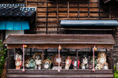 Tanuki Yokai雕象,浣熊雕象,日光,日本 库存图片