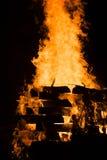 Tanukidanisan Fudo-in Temple Hiwatari Ritual. Huge bonfire during the Hiwatari ritual (fire-walking festival) in the Tanukidanisan (Tanukidan) Fudo-in Temple in royalty free stock photo