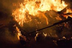 Tanukidanisan Fudo-in Temple Hiwatari Ritual. Turning the huge bonfire into a walkway during the Hiwatari ritual (fire-walking festival) in the Tanukidanisan ( stock image