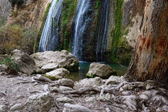 Tanur waterfall stream. River Iyon, Nature Reserve in the north of Israel Stock Photography
