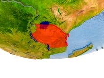 Tanzânia no vermelho no modelo de terra Imagens de Stock