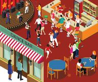 Tanz-Bierkneipe u. Restaurant-isometrisches Grafik-Konzept lizenzfreie abbildung
