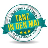 Tanz in den Mai Feiertag web Button. May day - Dance into May Badge Stock Image