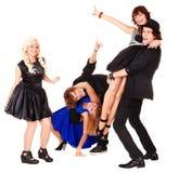Tanz der glücklichen Leute der Gruppe. lizenzfreies stockbild