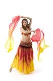 Tanz der jungen Frau der Schönheit mit Fantail lizenzfreie stockbilder