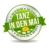 Tanz em mit Bumenwiese de Mai Button do antro Botão da bandeira da Web ilustração do vetor