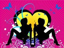 Tanz mit zwei Mädchen    Stockfoto