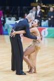 Tanz-Paare von Susnin Iwan und von Protsevskaia Olga Performs Adults Latin-American Program stockfoto
