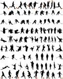 Tanz- und Sportschattenbilder eingestellt Stockbild