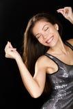 Tanzabendfrau im sexy Kleid, das Spaßtanz hat Lizenzfreie Stockfotos