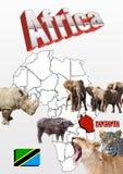 Tanzania översikt med flaggan och djur Arkivfoto