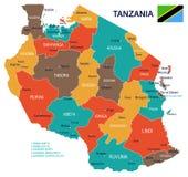 Tanzania - översikt och flagga - illustration stock illustrationer
