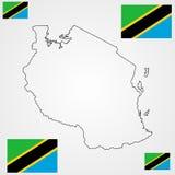 Tanzania översiktskontur och flagga stock illustrationer