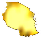 Tanzania 3d Golden Map Stock Image