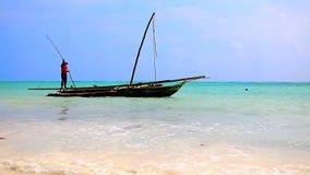 Tanzania beach boat stock video footage