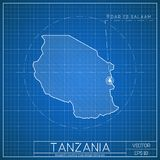 Tanzania blueprint map template with capital city. Dodoma marked on blueprint Tanzanian map. Vector illustration Stock Photography