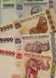 Tanzania currency. Banknotes of 1000, 2000, 5000 and 10000 Tanzanian Shillings stock images