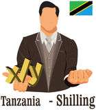 Tanzania currency symbol shilling representing money and Flag. Royalty Free Stock Images