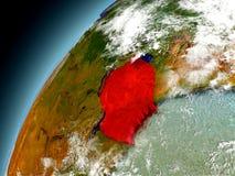 Tanzania de la órbita de Earth modelo Foto de archivo