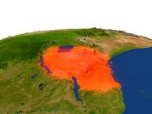 Tanzania en rojo de la órbita ilustración del vector