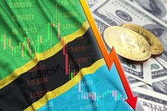 Tanzania flag and cryptocurrency falling trend with two bitcoins on dollar bills stock images