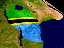 Tanzania with flag on Earth Stock Photo