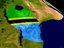 Tanzania with flag on Earth Royalty Free Stock Images